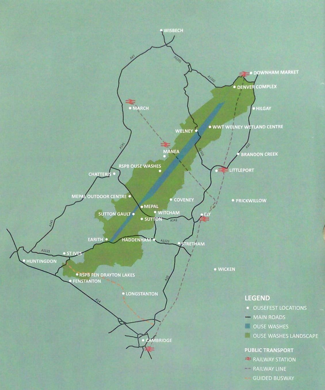 Ouse washes map with stations